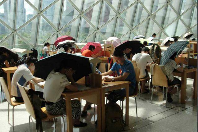 Idee geniali? Ecco la libreria dove si legge con l'ombrello perché c'è troppa luce