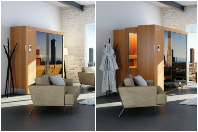 sembra un comune armadio ma una sauna che si espande con un solo pulsante. Black Bedroom Furniture Sets. Home Design Ideas