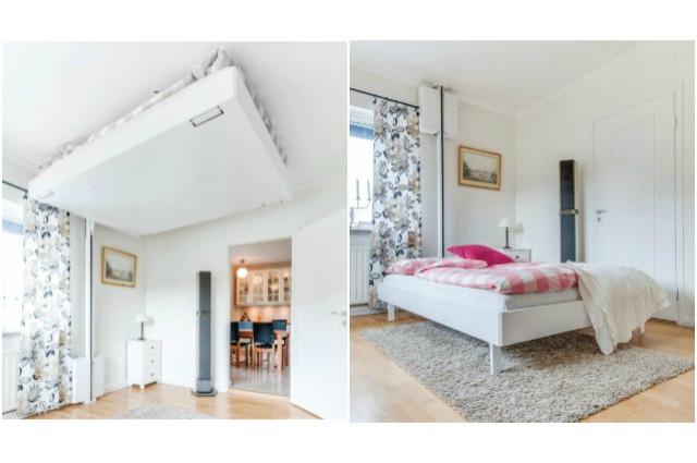 Perfetto per case con poco spazio questo letto scompare nel soffitto - Letto a scomparsa soffitto ...