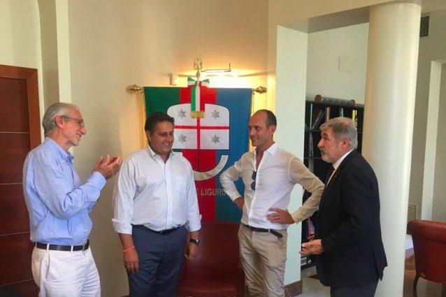 Renzo Piano in Regione Liguria con Giovanni Toti e il Sindaco Bucci Photo credit twitter.com/giovannitoti