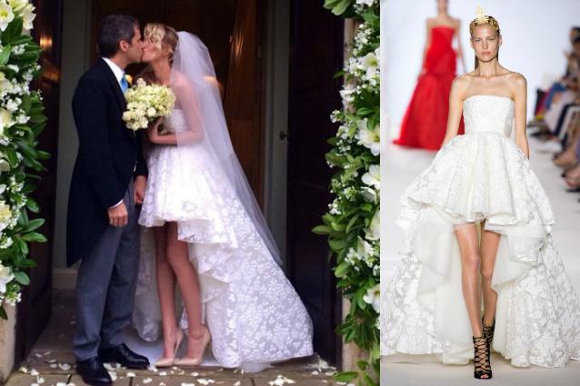 Alessia Marcuzzi: abito da sposa corto e gambe in mostra per le