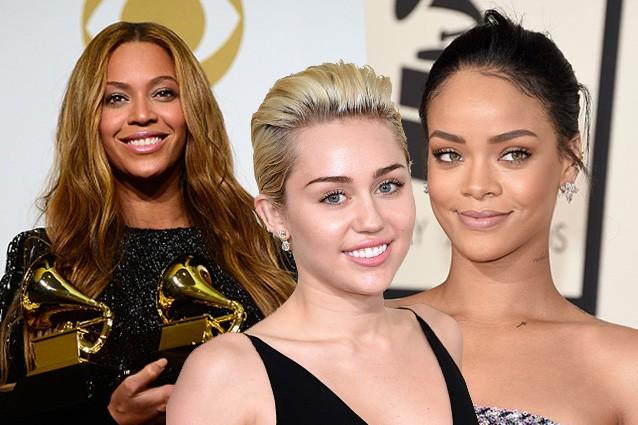 """Rihanna, Miley e Beyoncè, poco trucco e capelli """"spettinati"""" ai Grammy 2015 (FOTO)"""