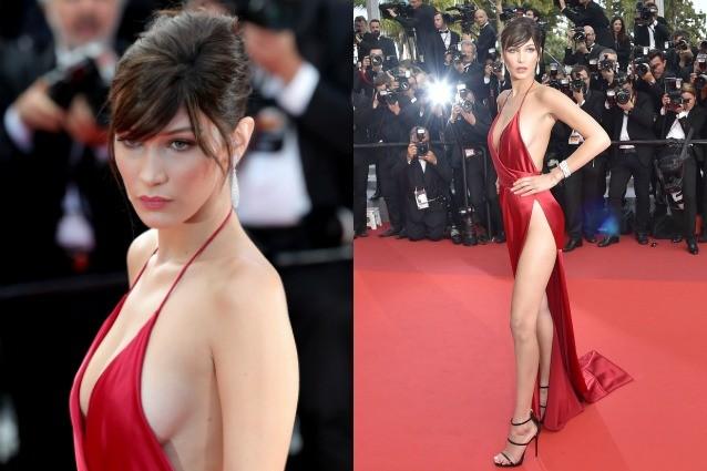 Bella Hadid la più sexy a Cannes: con l'abito scollatissimo rischia l'incidente hot