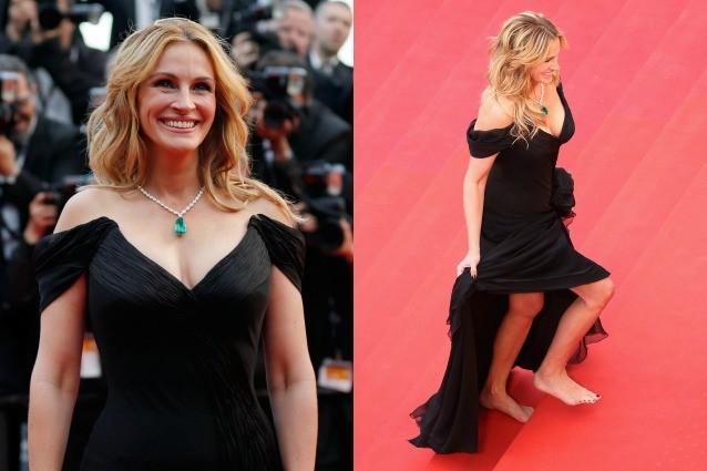 A piedi nudi sul red carpet: Julia Robert si ribella al dress code di Cannes 2016