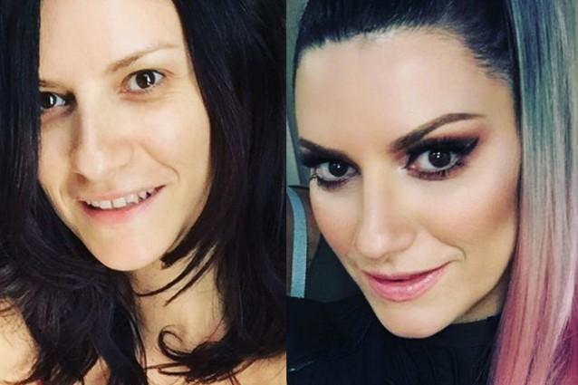 Le star prima e dopo il trucco: la trasformazione di Laura Pausini