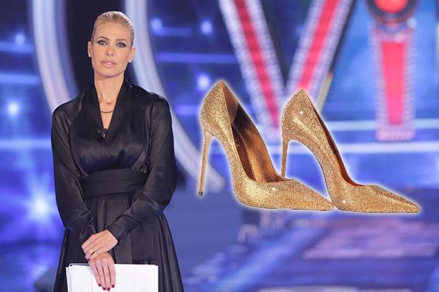 Il look con scarpe dorate di Ilary Blasi al GF Vip