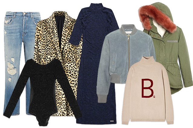 Da sinistra: jeans J brand, cappotto Mango, body Oysho, abito Superdry, bomber See by Chloé, parka Gap, pull Benetton by Stella Jean