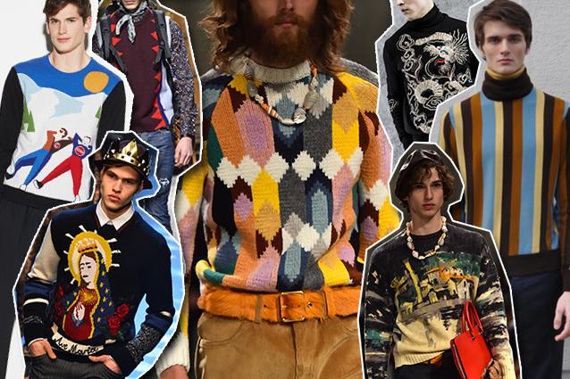 da sinistra: Colmar x Au Jour le Jour, Dsquared2, Dolce e Gabbana, Missoni, Ermanno Scervino, Prada, Luca Larenza