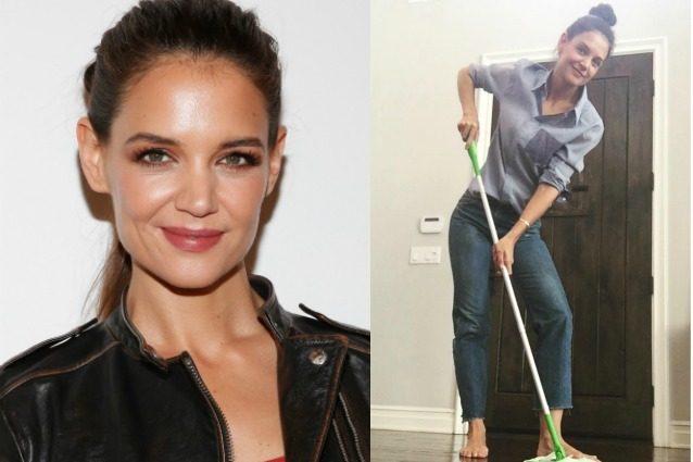 Katie Holmes casalinga perfetta: le pulizie a piedi scalzi della star