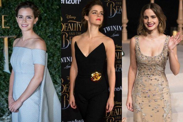 """Emma Watson: gli abiti eco dell'attrice alle prime di """"La Bella e la Bestia"""""""