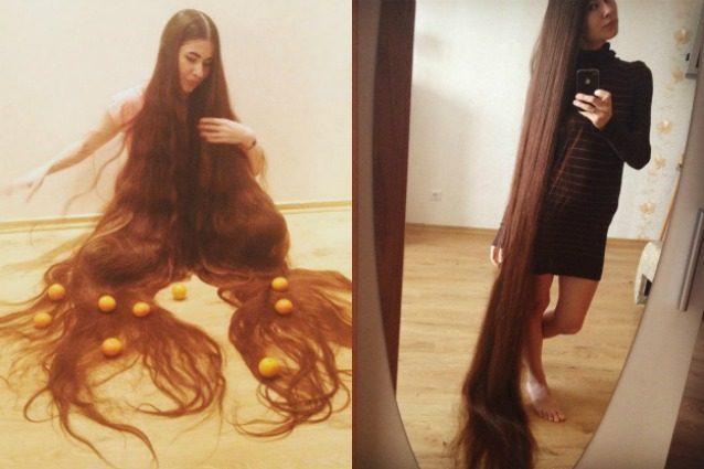 Ragazza con i capelli piu lunghi del mondo
