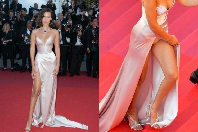 Dopo l'abito senza slip, Bella Hadid ci riprova con il maxi spacco a Cannes