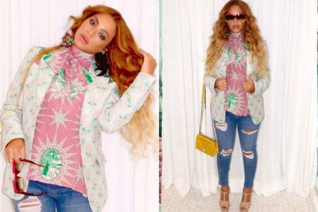 Beyoncé anche in gravidanza non rinuncia a tacchi alti e jeans super aderenti