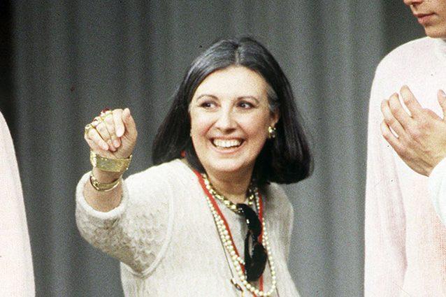 Laura Biagiotti alla sfilata uomo del suo marchio nel 1999