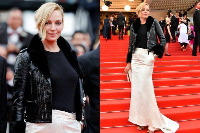 Il chiodo in pelle sul tappeto rosso: Uma Thurman rompe le regole a Cannes