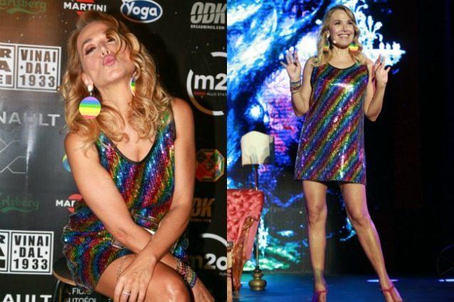 Barbara d'Urso, paillettes e look arcobaleno per il Gay Village