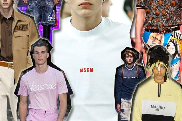 da sinistra Fendi, Dsquared2, Versace, MSGM, Frankie Morello, Dolce e Gabbana, Malibù 1992