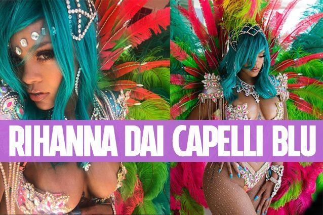 Rihanna: capelli blu, piume e seno in mostra per la festa a Barbados