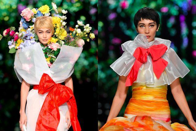Gigi in un bouquet di fiori, Bella con i capelli corti: da Moschino succede di tutto