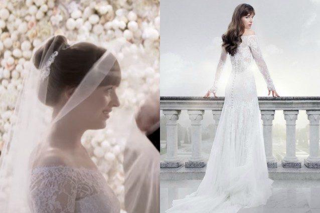 """""""50 sfumature di rosso"""": l'abito da sposa di Anastasia è già cult"""