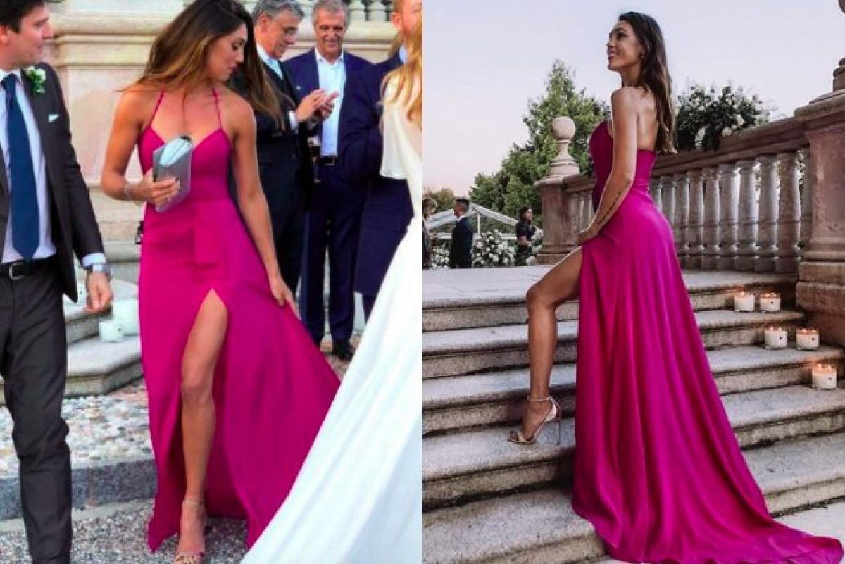 8a62d0d4bc07 Cecilia Rodriguez alle nozze di Daniele e Filippa  abito scollato con maxi  spacco