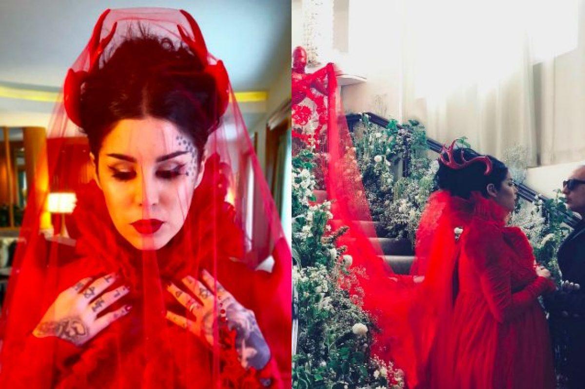Tulle rosso e corna in stile diavolo l\u0027originale abito da sposa di Kat Von  D