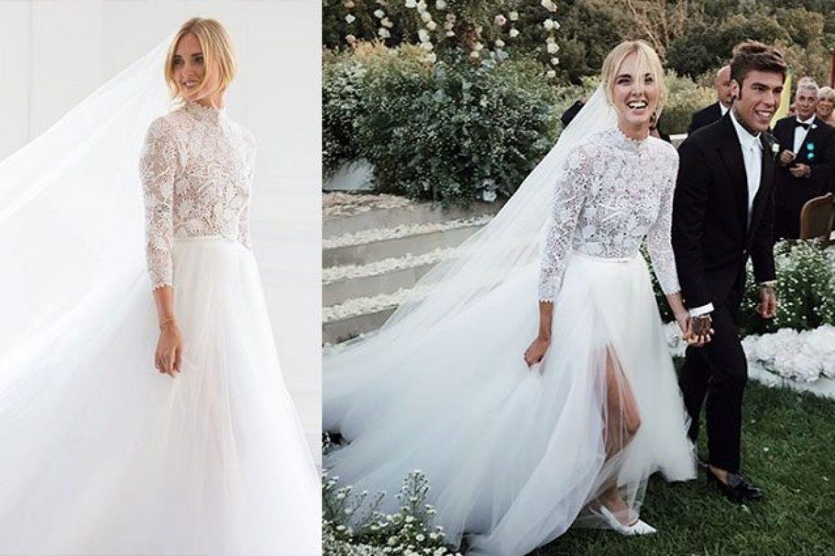 ad5490c134 Chiara Ferragni sposa Fedez, l'abito bianco per il matrimonio a Noto è da  sogno