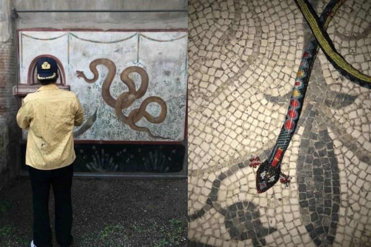 9c63121b2399 Gucci arriva a Pompei  le modelle posano tra gli scavi e gli affreschi dei  serpenti