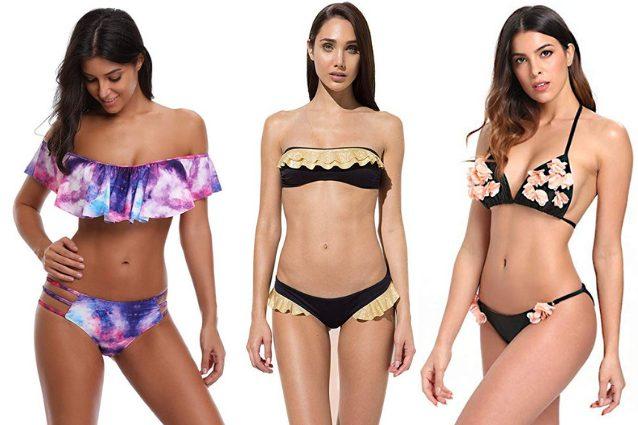 heekpek Donna Costumi da Bagno Tre Pezzi Costumi Bowknot Mare Bikini Costume da Bagno Donna Push up Spiaggia Ragazza Intimo Imbottito Reggiseno