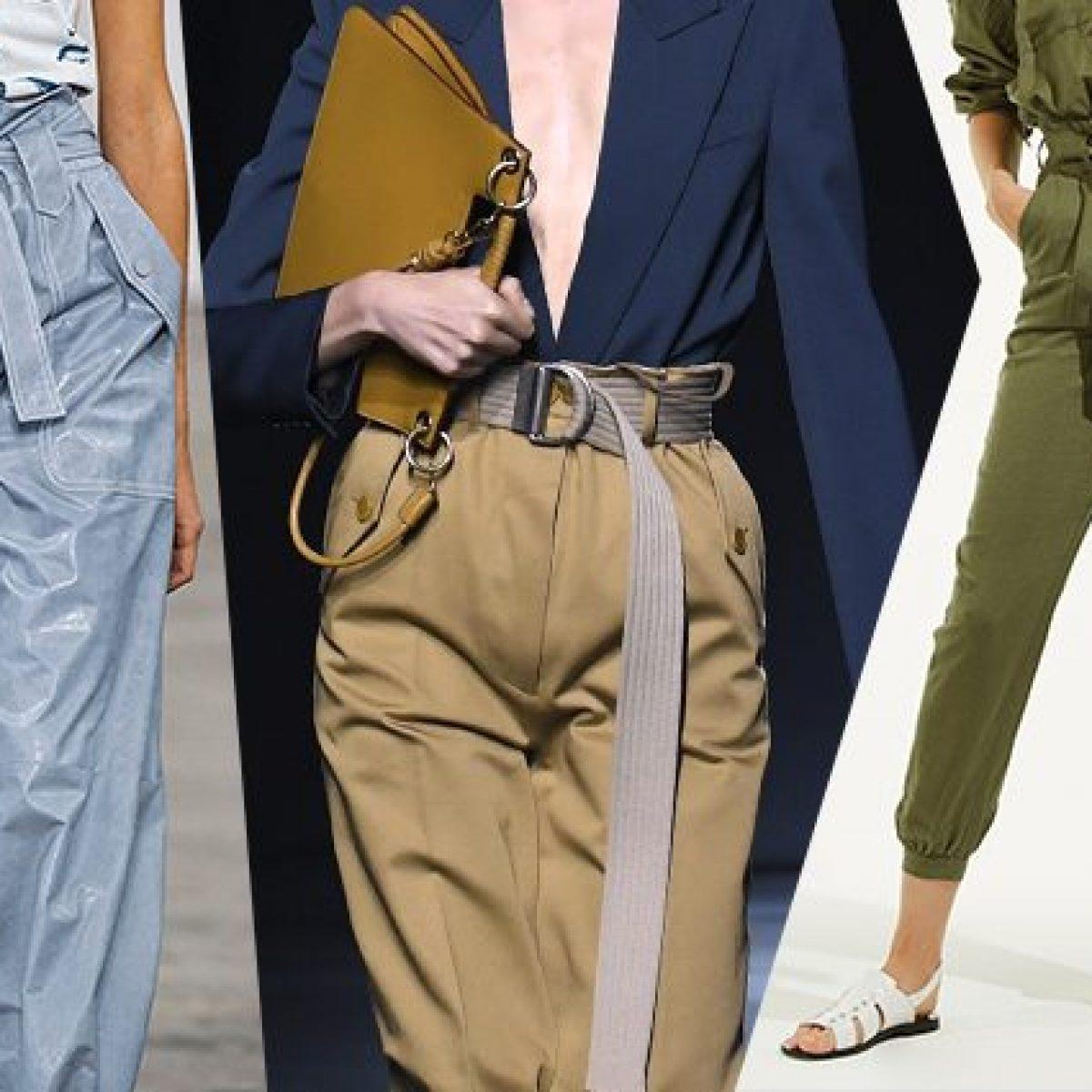 d3d08b168f4e Pantaloni estivi: la vita è altissima e si indossano con la cintura per un  effetto arricciato