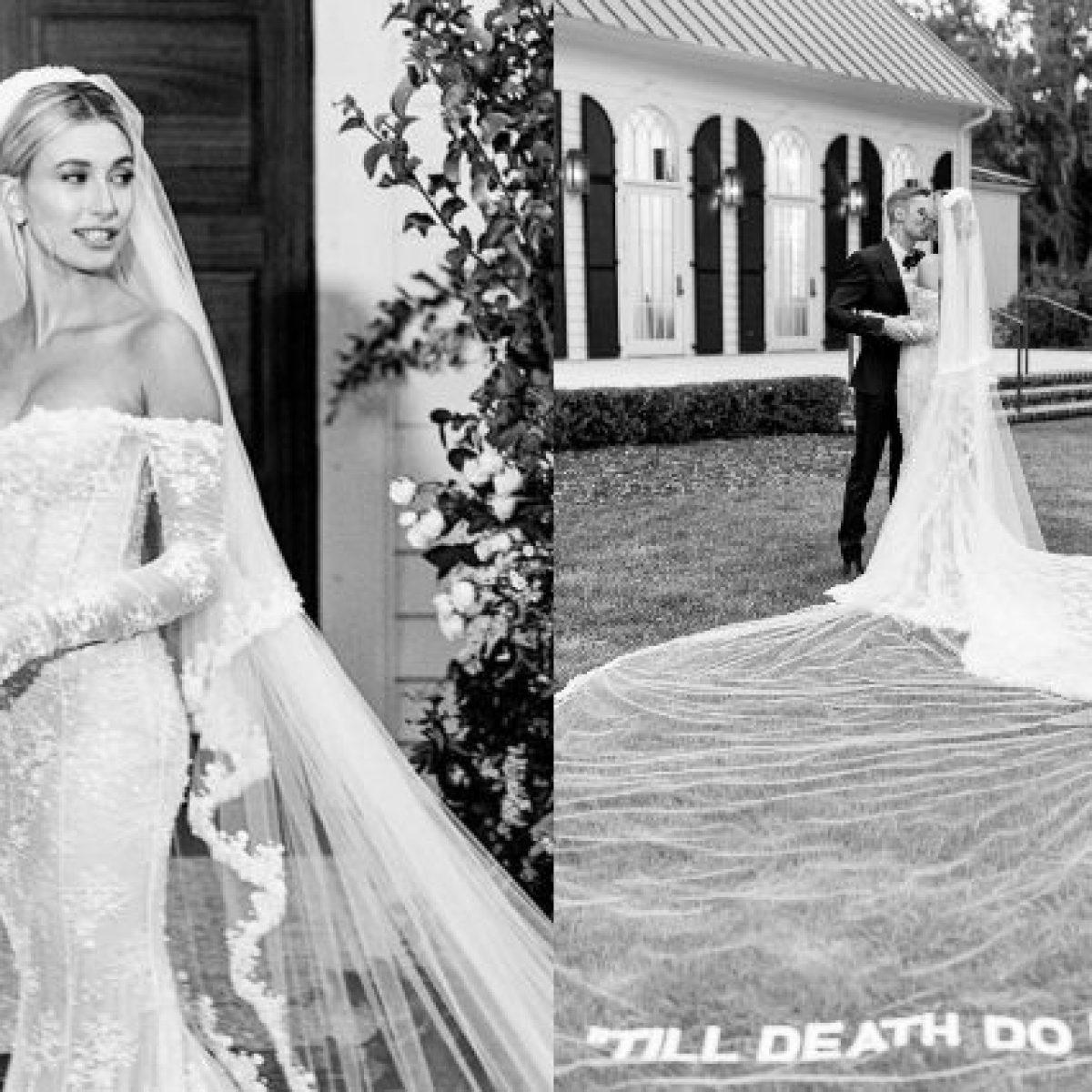Hailey Baldwin svela il terzo abito da sposa, sul velo c'è