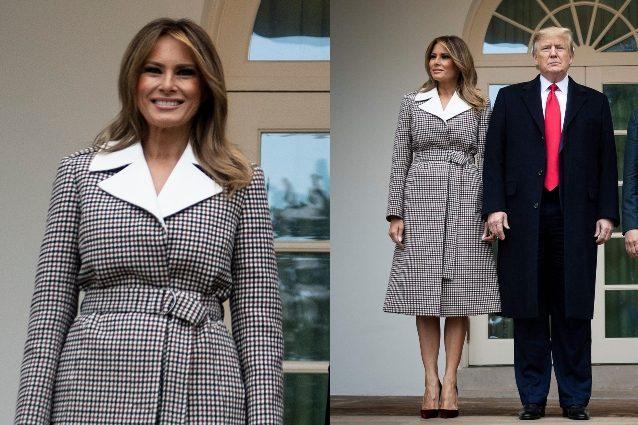 Cappotto giallo e scarpe leopardate: Melania e Donald di