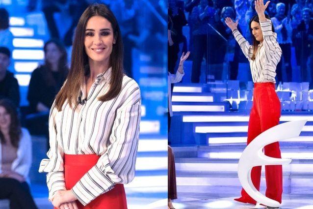 Silvia Toffanin in pantaloni a Verissimo: abbina il rosso fu