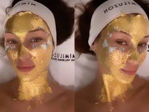 Bella Hadid si prepara alle sfilate con la maschera viso in