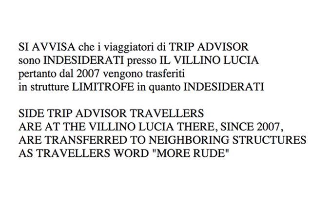 """Il B&B in cui """"i viaggiatori Tripadvisor sono indesiderati"""""""