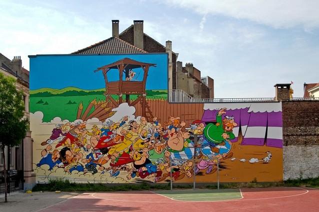 Asterix, murales del fumetto a Bruxelles