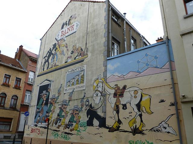 Lucky Luke, murales del fumetto a Bruxelles