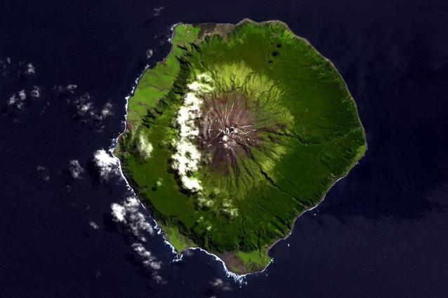 Tristan da Cunha vista da satellite.