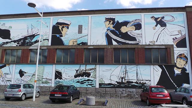 Corto Maltese, murales del fumetto a Bruxelles