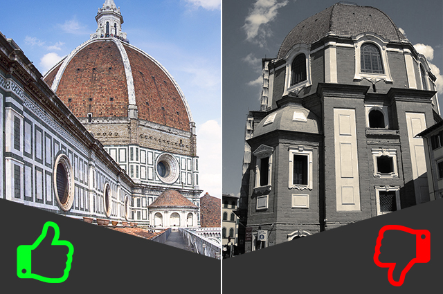 SÌ Grande Museo dell'Arte del Duomo, NO Cappelle Medicee (da sinistra foto di Ilaria Vangi/@Fanpage.it e Sailko).