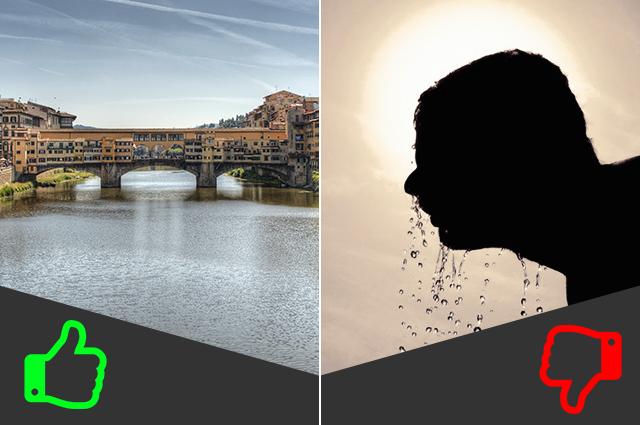 SÌ Giro in barca, NO Passeggiata sui Lungarni (da sinistra immagini di Gary Ashley e Rosh PR).