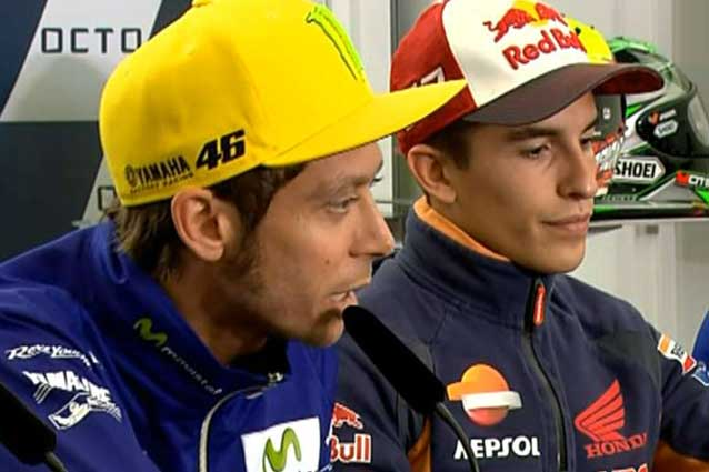 Valentino Rossi e Marc Maruqez durante la conferenza tampa pre–evento a Silverstone / MotoGp.com