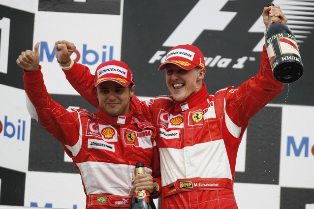 Michael Schumacher e Felipe Massa sul podio – Photo by Mark Thompson/Getty Images