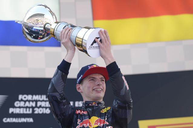 Max Verstappen festeggia sul podio del Gran Premio di Spagna – Getty Images