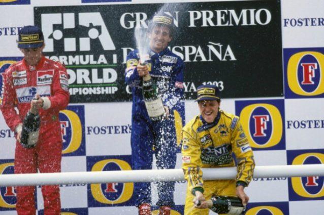 """GP di Spagna story, 1993: Schumi, Prost e Senna per l'unico """"podio delle leggende"""""""