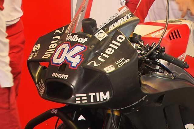 La rivoluzionaria carena aerodinamica della Ducati, battezzata 'hammerhead' / MotoGp.com