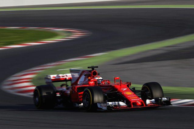 La Ferrari SF70H sul circuito del Montmelò – Getty Images