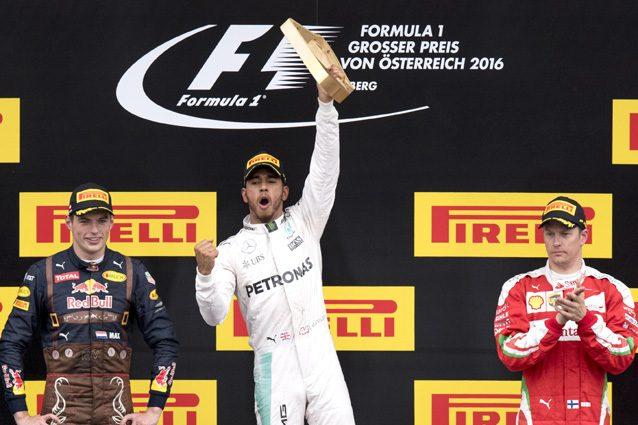 Hamilton, Verstappen e Raikkonen sul podio – Getty Images