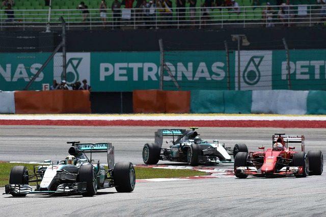 Hamilton, Vettel e Rosberd Sepang 2015