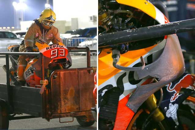 La Honda di Marc Marquez riportata al box / Twitter @GoldandGoose